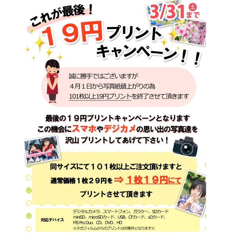 19円プリントキャンペーン!!